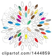 Clipart Of A Design Of Outline And Colorful Leaves Royalty Free Vector Illustration