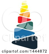 Clipart Of A Colorful Abstract Stacked Stones Logo Design Royalty Free Vector Illustration