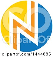 Clipart Of A Round Yellow White Orange And Blue Letter N Or Zig Zag Design Royalty Free Vector Illustration by ColorMagic