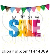 Clipart Of A Colorful Suspended Sale And Bunting Design Royalty Free Vector Illustration