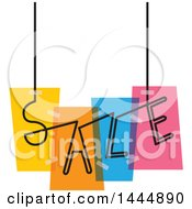 Clipart Of A Colorful Suspended Sale Design Royalty Free Vector Illustration