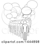 Clipart Of A Gray Lineart Crowd Under Speech Balloons Royalty Free Vector Illustration