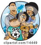 Two Parents Standing With Their Son Daughter And The Family Dog Clipart Illustration by Andy Nortnik