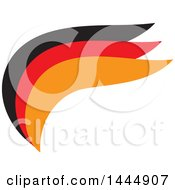 Clipart Of A Black Red And Orange Wave Or Wing Logo Design Royalty Free Vector Illustration