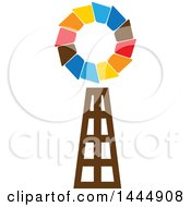 Clipart of a Colorful Windmill - Royalty Free Vector Illustration by ColorMagic #COLLC1444908-0187