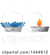 Clipart Of A 3d Orange Man On A Check Mark Podium And Blue Men On A Discard One Royalty Free Vector Illustration