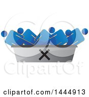 Clipart Of 3d Blue Men In A Discard Container Royalty Free Vector Illustration