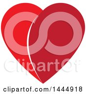 Clipart Of A Two Toned Red Heart Royalty Free Vector Illustration