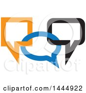 Blue Black And Orange Connected Speech Balloons