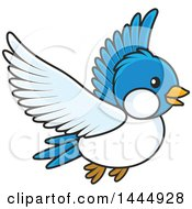 Clipart Of A Cartoon Flying Bluebird Royalty Free Vector Illustration by Alex Bannykh