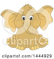 Clipart Of A Cartoon Cute Baby Elephant Sitting Royalty Free Vector Illustration