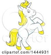 Poster, Art Print Of Cartoon Cute White And Yellow Unicorn Rearing