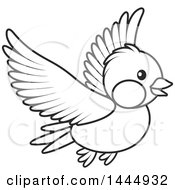 Cartoon Black And White Flying Bird