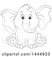 Cartoon Black And White Lineart Cute Baby Elephant Sitting