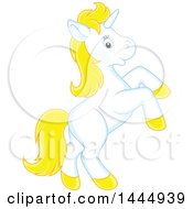 Clipart Of A Cute White And Yellow Unicorn Rearing Royalty Free Vector Illustration by Alex Bannykh