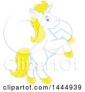 Poster, Art Print Of Cute White And Yellow Unicorn Rearing