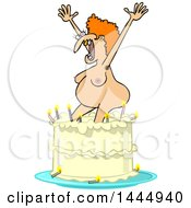 Poster, Art Print Of Cartoon Nude Ugly White Woman Popping Out Of A Birthday Cake