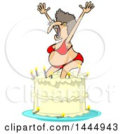 Clipart Of A Cartoon Ugly White Woman In A Bikini Popping Out Of A Birthday Cake Royalty Free Vector Illustration