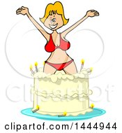 Clipart Of A Cartoon Blond White Woman In A Bikini Popping Out Of A Birthday Cake Royalty Free Vector Illustration