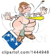 Clipart Of A Cartoon Caucasian Business Man Being Squeezed By Uncle Sams Hand The Last Cent Popping Out Royalty Free Vector Illustration by Johnny Sajem
