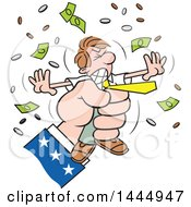 Clipart Of A Cartoon Caucasian Business Man Being Squeezed By Uncle Sams Hand Royalty Free Vector Illustration by Johnny Sajem