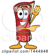 Red Carpet Mascot Cartoon Character Waving And Pointing