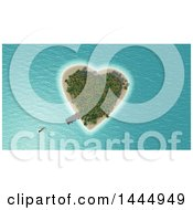 3d Heart Shaped Island With A Dock And Approaching Boat