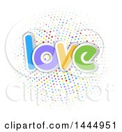 Clipart Of A Colorful Word Love Over A Circle Of Polka Dots Royalty Free Vector Illustration