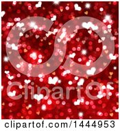 Red Valentines Day Background Heart Shaped Bokeh Flares