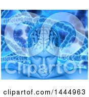 Clipart Of A 3d Male Human Head With Visible Brain And Dna Strands Royalty Free Illustration