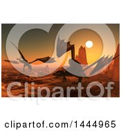 Clipart Of A 3d Battle Of Dragons In A Desert Like Landscape Royalty Free Illustration by KJ Pargeter