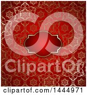 Red Background With An Ornate Golden Floral Pattern And Frame
