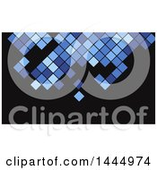 Clipart Of A Blue And Black Pixels Or Tile Background Or Business Card Design Royalty Free Vector Illustration