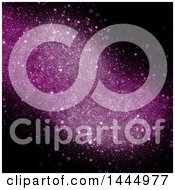 Clipart Of A Background Of Pink Sparkles On Black Royalty Free Illustration