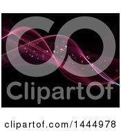 Clipart Of A Background Of Pink And Purple Flowing Waves And Magic Flares Royalty Free Illustration