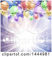 Poster, Art Print Of Purple Sun Burst Background With Lights And Colorful Party Balloons