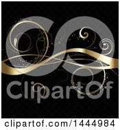 Clipart Of A Gold Vine And Swirl Flourish On Black Royalty Free Vector Illustration