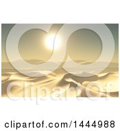 Clipart Of A 3d Desert Landscape With Sand Dunes At Sunet Royalty Free Illustration by KJ Pargeter