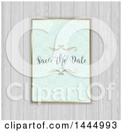 Pastel Damask Save The Date Wedding Invitation Over White Wood Panels