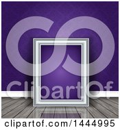 Clipart Of A 3d Blank Picture Frame Leaning Against A Wall With Purple Damask Resting On A Shiny Wood Floor Royalty Free Vector Illustration