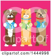 Cute Cat And Dogs Standing Upright And Reading Books On A Pink Background