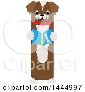 Clipart Of A Cute Brown Dog Standing Upright And Reading A Book Royalty Free Vector Illustration by Maria Bell