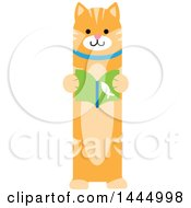 Clipart Of A Cute Ginger Tabby Cat Standing Upright And Reading A Book Royalty Free Vector Illustration