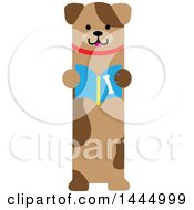 Clipart Of A Cute Brown Puppy Dog Standing Upright And Reading A Book Royalty Free Vector Illustration
