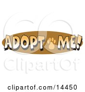 Internet Web Button Reading Adopt Me With A Cute Paw Print Clipart Illustration