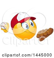 Poster, Art Print Of Cartoon Yellow Smiley Face Emoji Emoticon Baseball Player Pitching