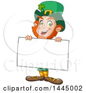 Clipart Of A Cartoon Happy St Patricks Day Leprechaun Smiling And Holding A Blank Sign Board Royalty Free Vector Illustration by yayayoyo