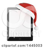 Clipart Of A 3d Christmas Tablet With A Santa Hat On A White Background Royalty Free Illustration by Texelart