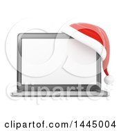 Clipart Of A 3d Christmas Laptop Computer With A Santa Hat On A White Background Royalty Free Illustration by Texelart