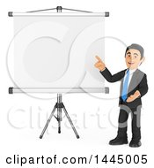 Clipart Of A 3d Business Man Pointing To A Projector Screen On A White Background Royalty Free Illustration